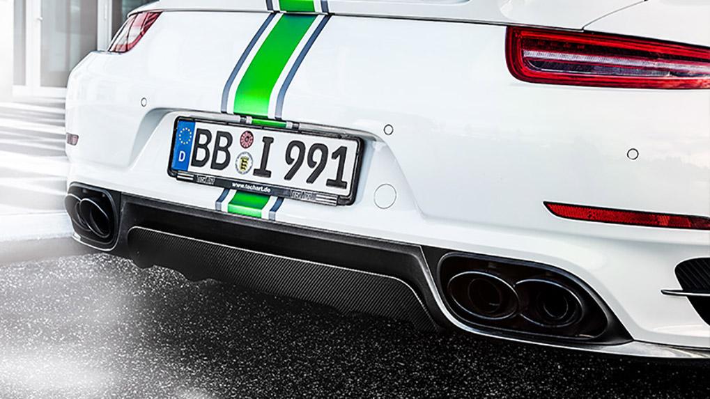 Porsche 991 Turbo Techart Aerokit I задний диффузор и насадки