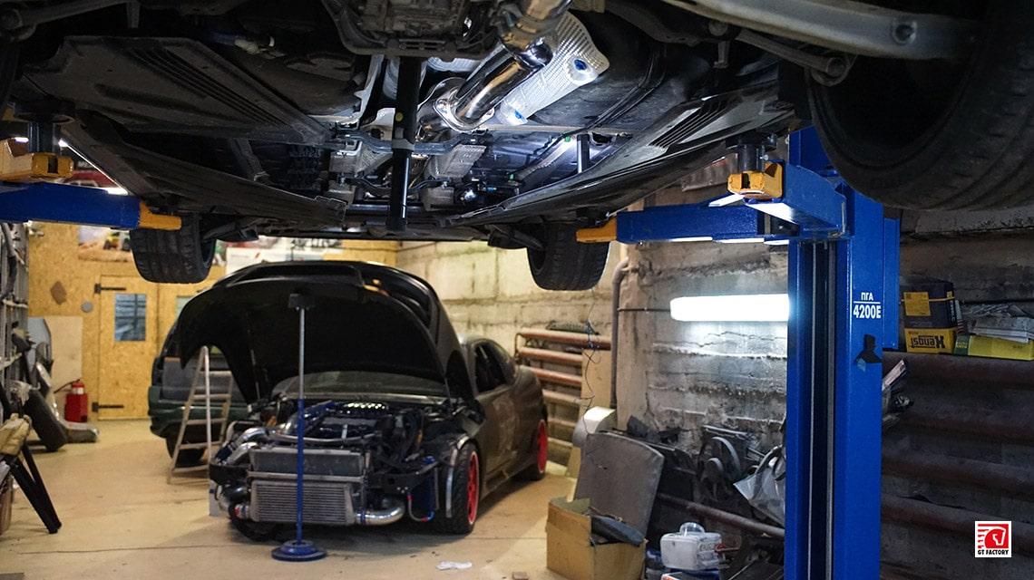 Установка выхлопной системы Mercedes-Benz A45 AMG W176